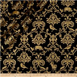 Kokka Classic Animals Canvas Metallic Black/Gold