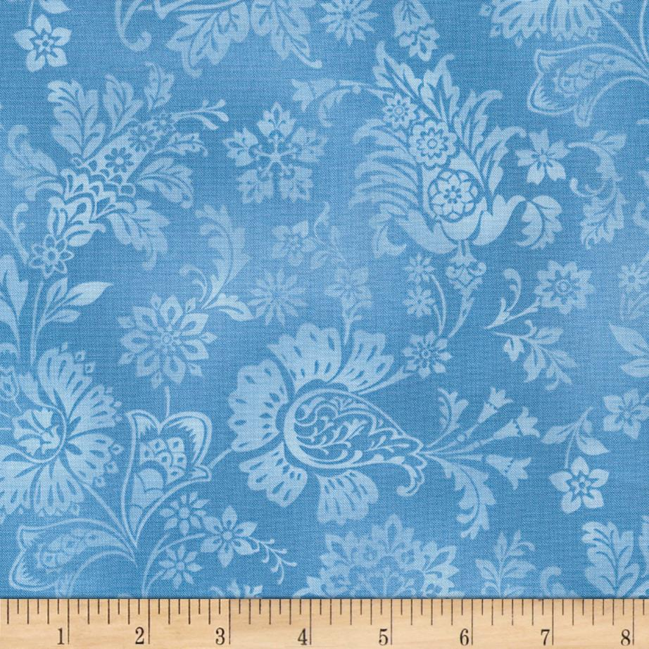 Timeless Treasures True Blue Tonal Jacobean Blue
