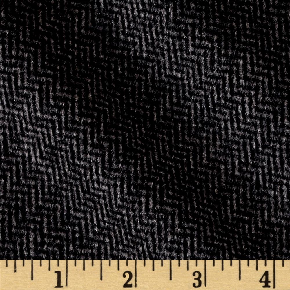 Telio Wool Blend Melton Fancy Zigzag Weave Grey/Black