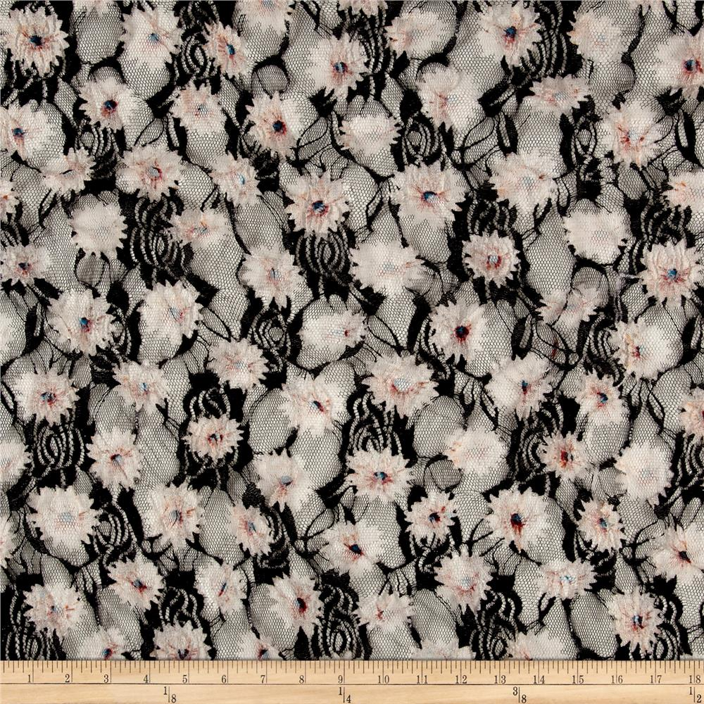 Printed Stretch Lace Floral Black/White/Red/Pink/Green Fabric