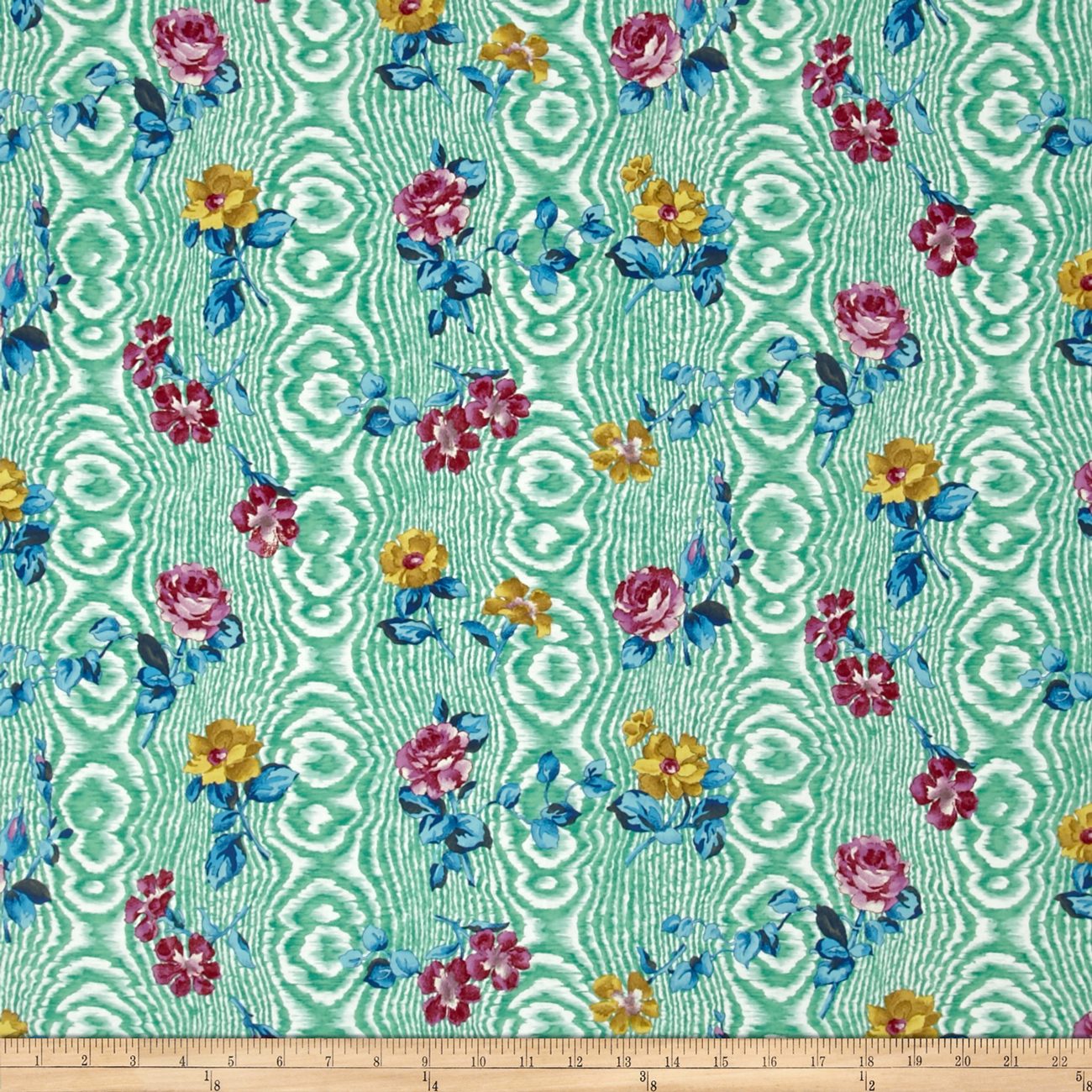 Tracy Porter Ardienne Tossed Floral Green Fabric by Clothworks in USA