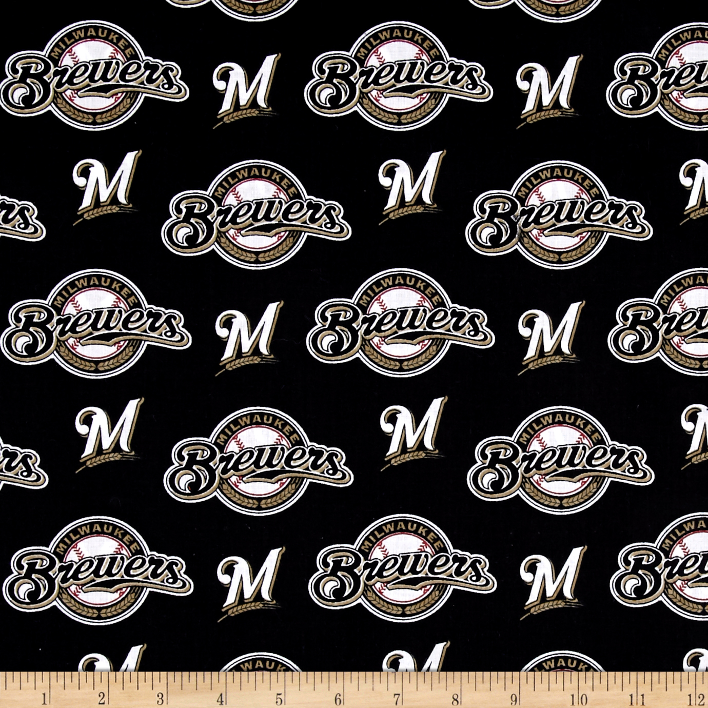 MLB Cotton Broadcloth Milwaukee Brewers Black/White Fabric by Fabric Traditions in USA