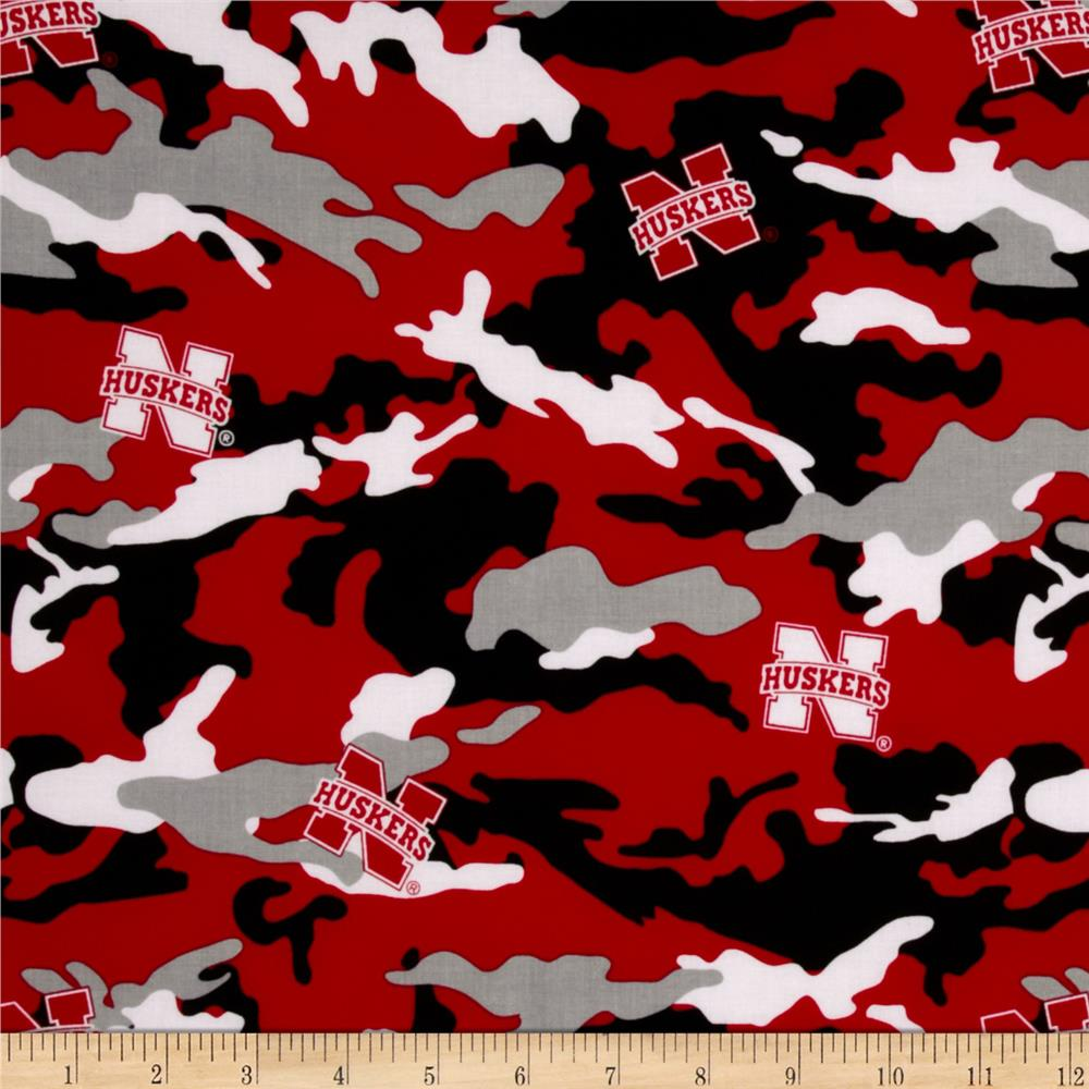 Collegiate Cotton Broadcloth The University of Nebraska Camouflage
