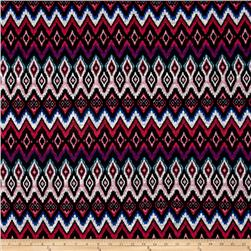 Sweater Knit Abstract Ikat Chevron Multi