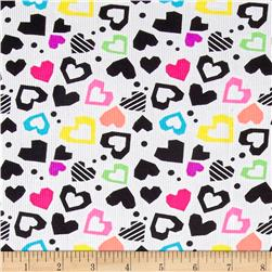 Pajama Rib Knit Hearts Multi