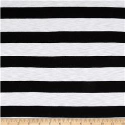 Designer Slub Jersey Knit Thick Stripes White/Black
