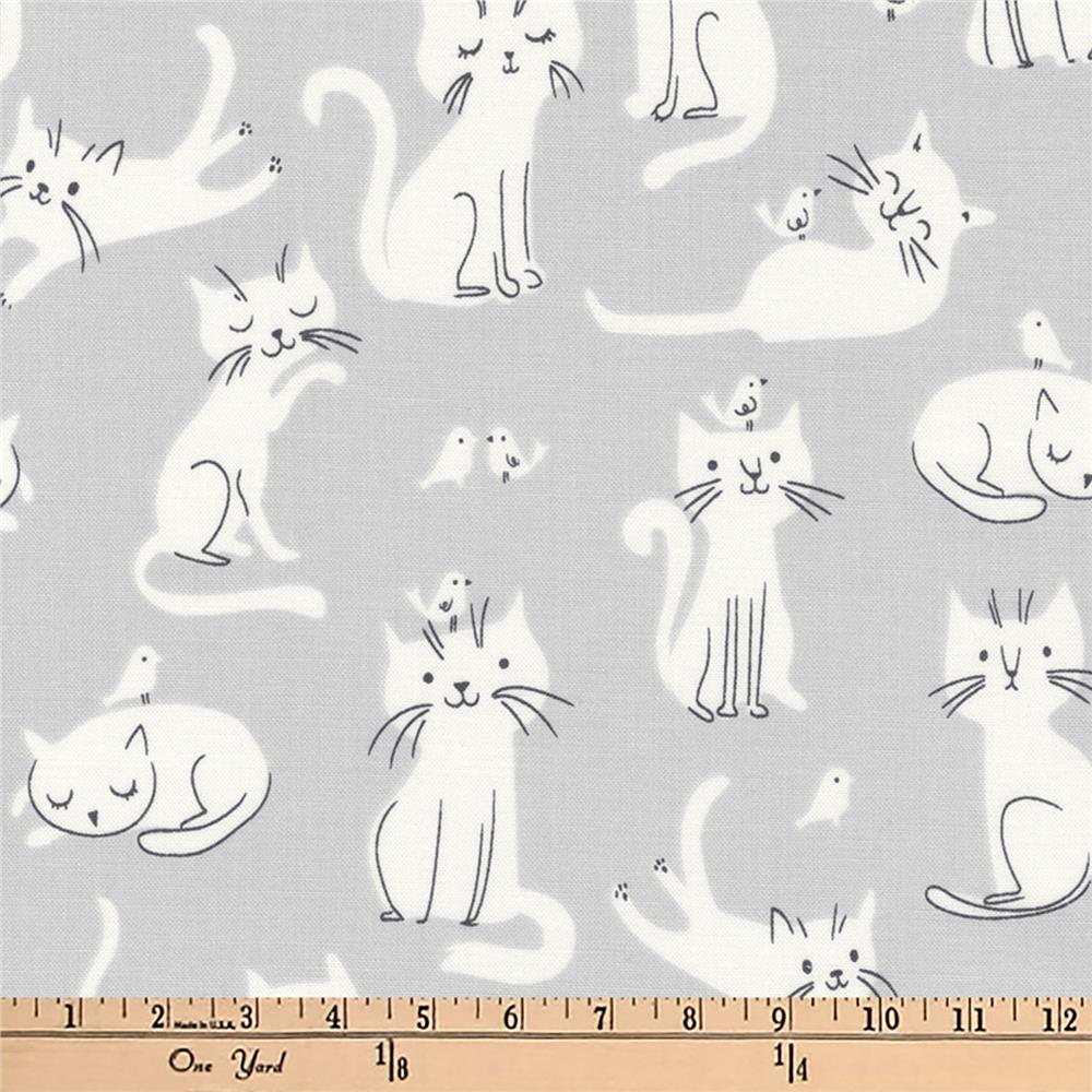 Kaufman Whiskers and Tails Kitties Grey