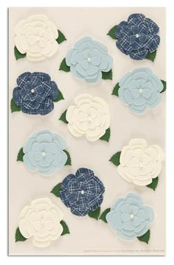 Martha Stewart Crafts Stickers Gardenia White/Blue