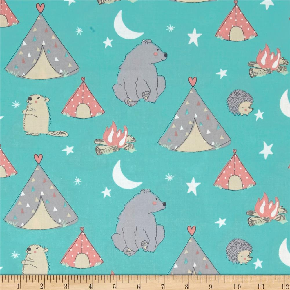 Nursery camp wee one campsite multi discount designer for Nursery fabric