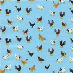 Timeless Treasures Little Farm Chickens Aqua