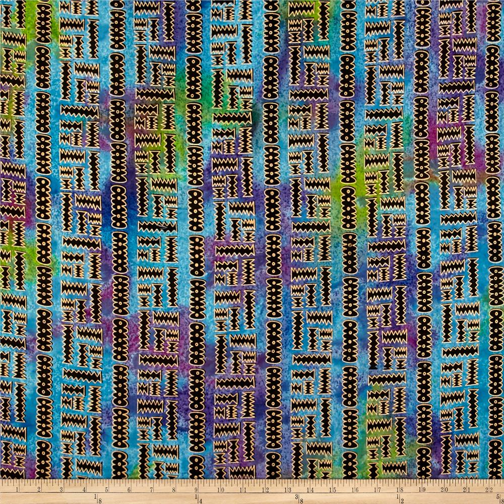 Indian Batik Metallic X'S X O'S Lime/Purple/Aqua