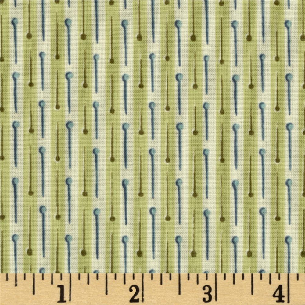 Button Tree Lane Pin Stripe Cream/Green