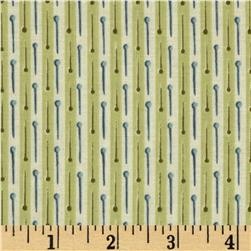 Button Tree Lane Pin Stripe Cream/Green Fabric