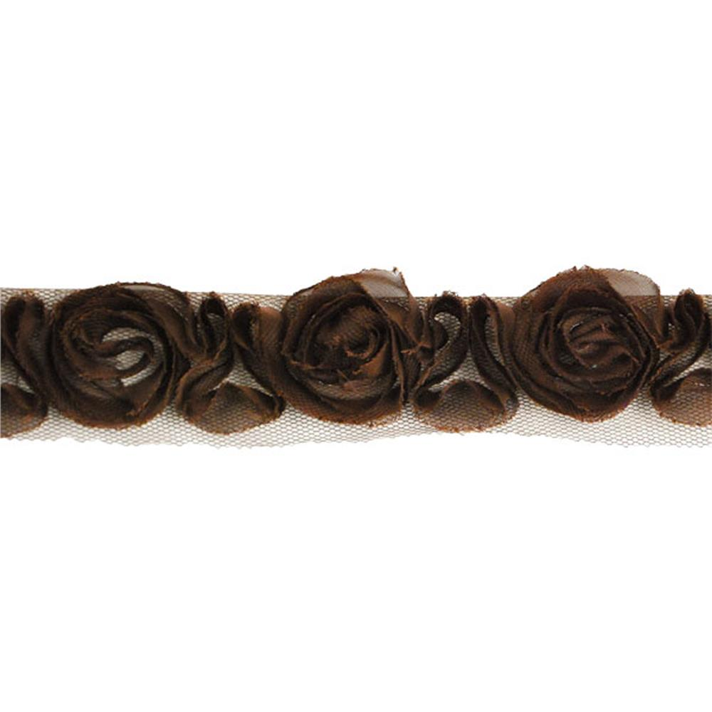 "1-1/2"" Organza Rosette Ribbon Chocolate"