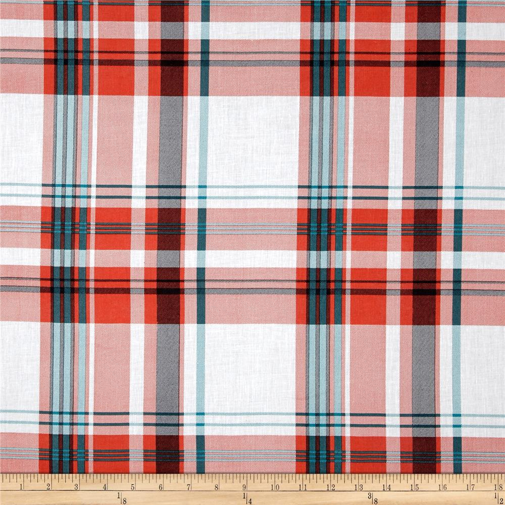 Cotton Plaid Lawn Orange/White