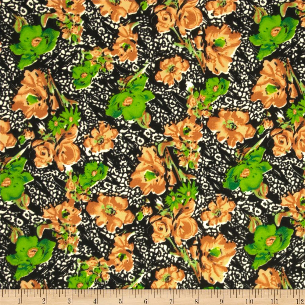 Jungle Safari Broadcloth Flowers Green/Amber