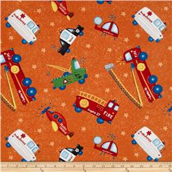 Zip Zoom Tossed Vehicles Orange Fabric
