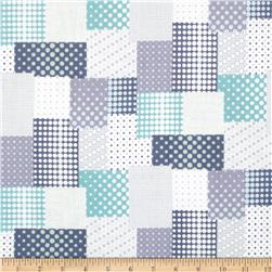 Seven Islands Double Cotton Gauze Patchwork Blue/Grey