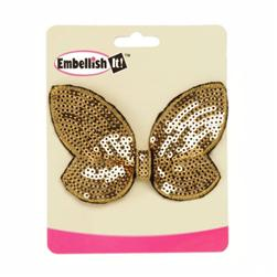 "Butterfly Bow Sequin Applique 3.75"" x 2.5"" Gold"