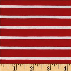Rayon Spandex 1/2 X 1/4 Yarn Dyed Stripes Jersey Knit Red/Ivory