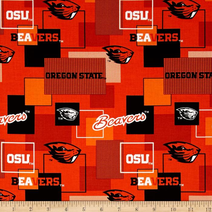 Collegiate Cotton Broadcloth Oregon State University Block Print Orange