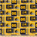 Collegiate Cotton Broadcloth University of Michigan Squares Yellow/Blue