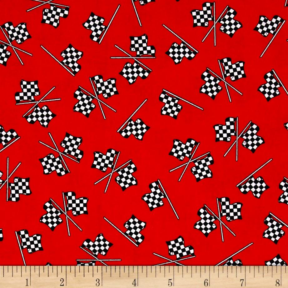 Race Track Fabric : Fast track checkered racing flags red discount designer