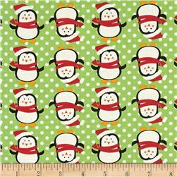 Fabric Freedom Christmas Character Penguins & Dots Green
