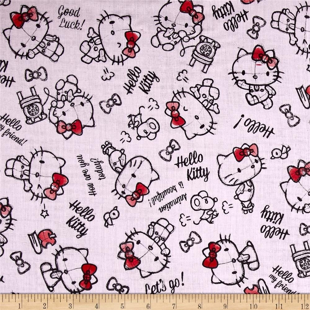 Kokka Sanrio Hello Kitty Rough Sketch Double Gauze Pink