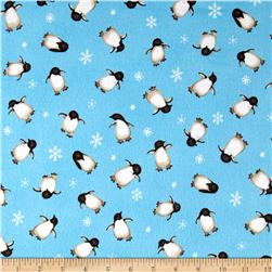 North Pole Greetings Flannel Allover Penguins Light Blue