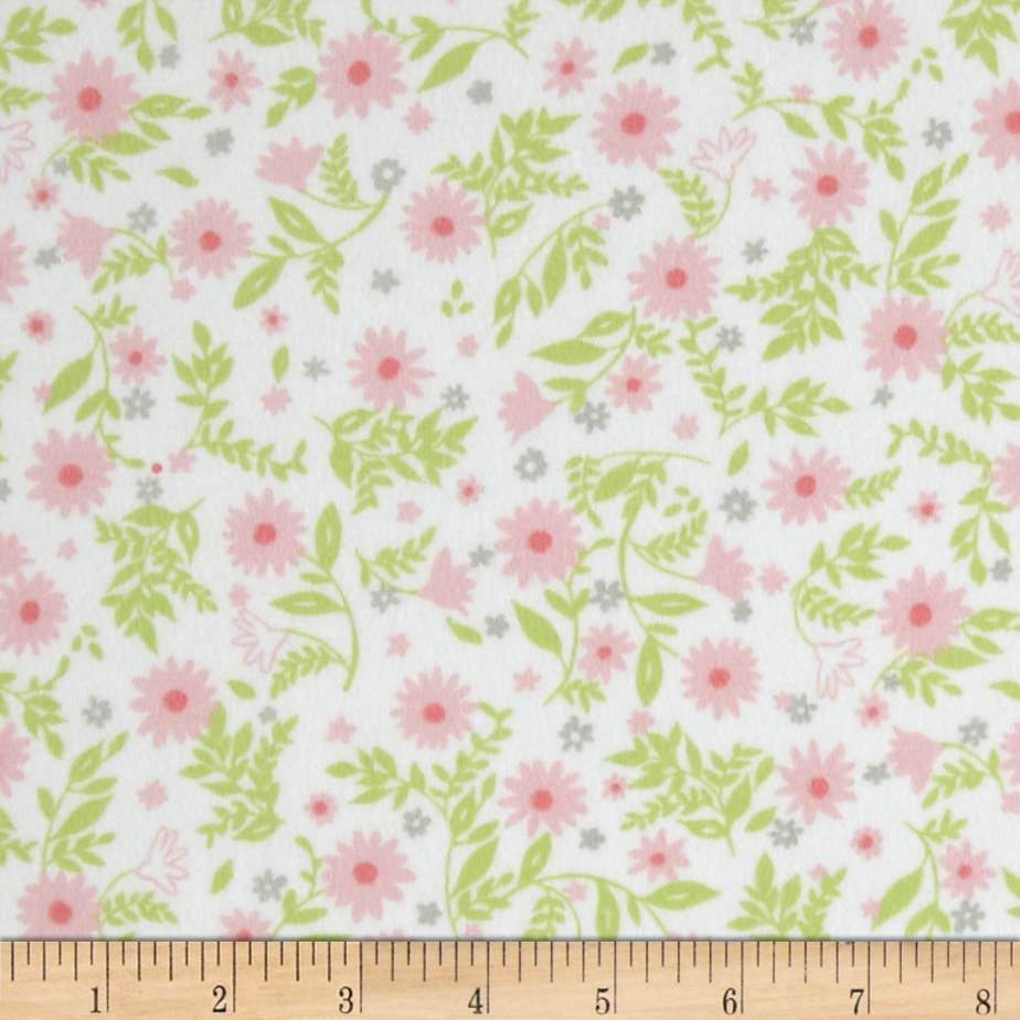 Cozy Cotton Flannel Flowers Pink Fabric