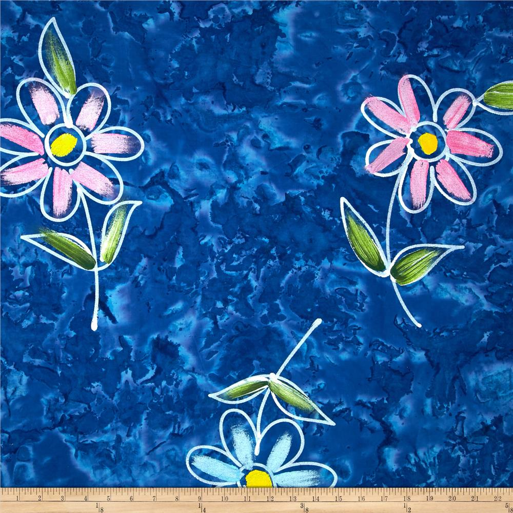 Indian Batik Hand Painted Floral Blue