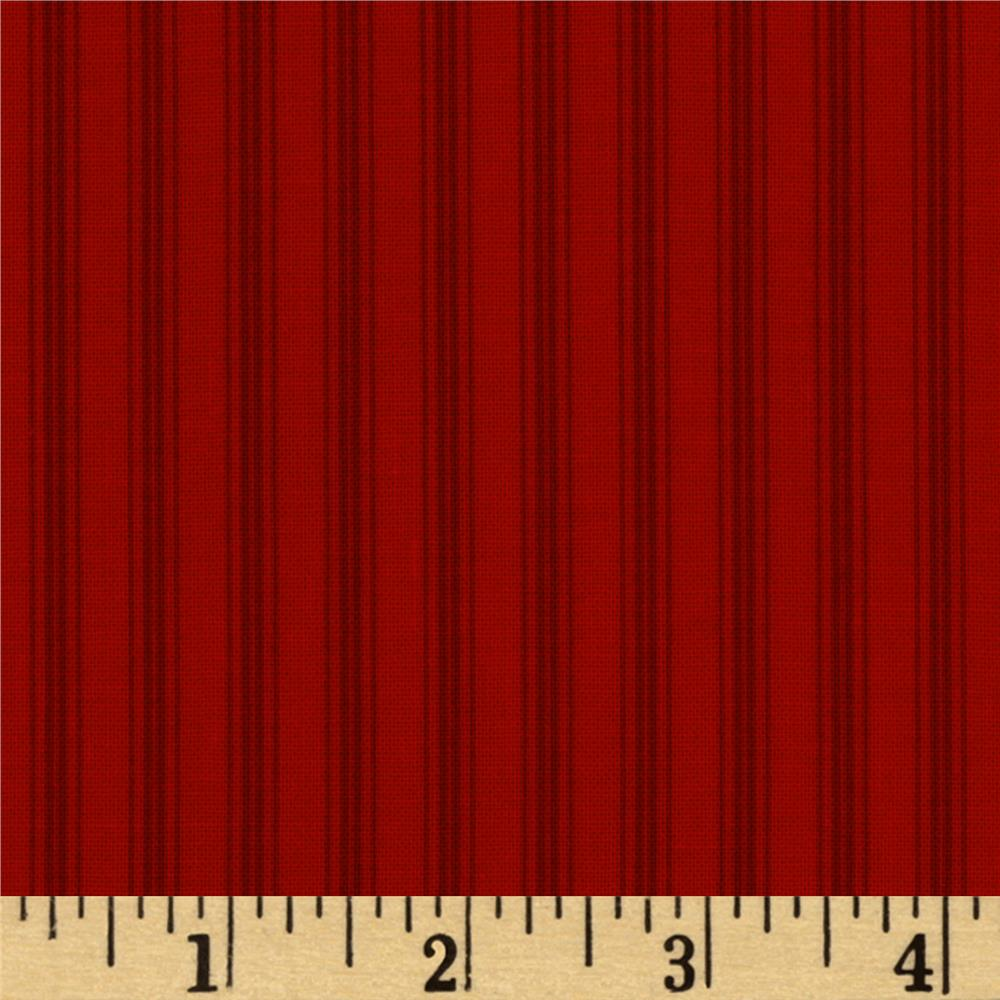 Moda Winter Wonderland Candy Cane Stripe Tonal Redwork