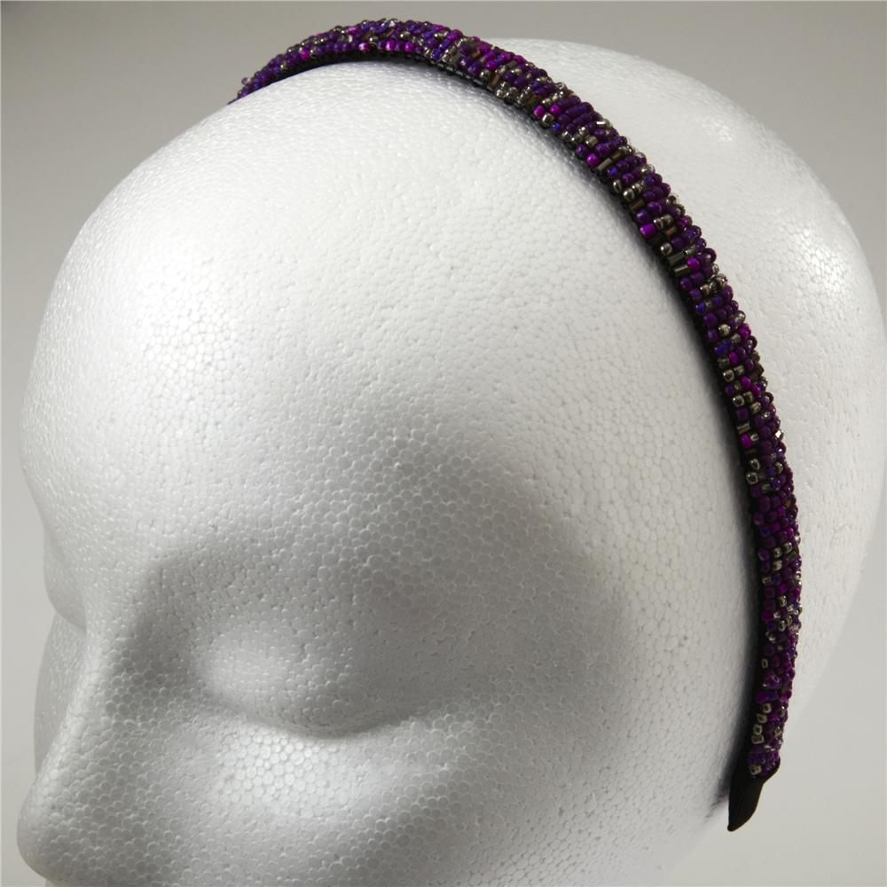 1/2'' Seed Bead Headband Purple/Multi