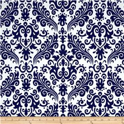 Riley Blake Large Damask White/Navy