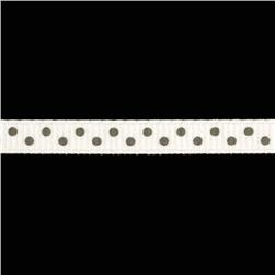 "1/4"" Grosgrain Ribbon Mini Dot Gray"
