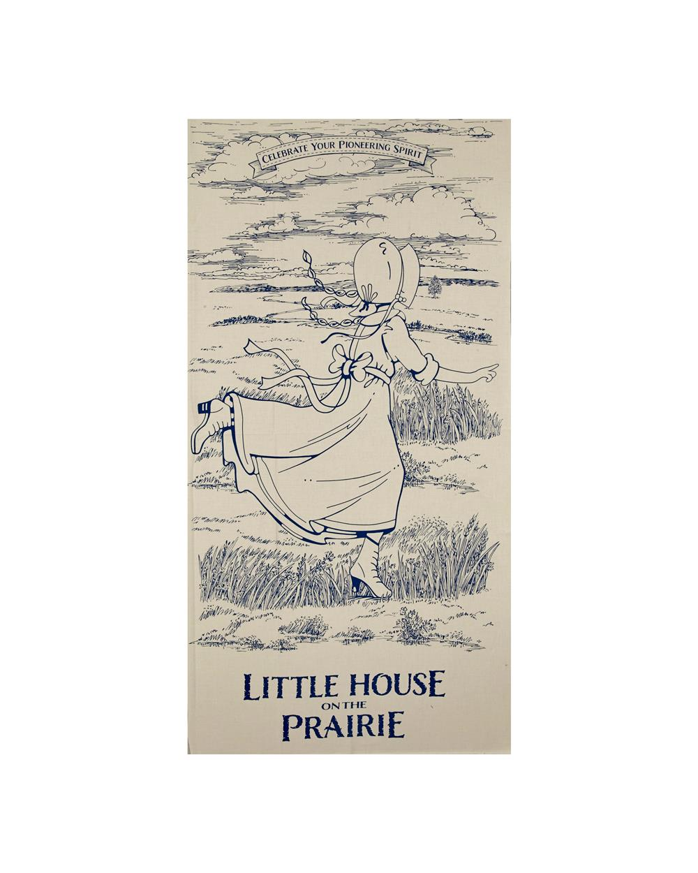 "Little House On The Prairie Running Girl 23.5"" Panel Blue"
