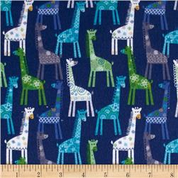 Catalina Flannel Giraffes Blue