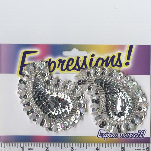 Paisley Sequin Applique Pair Silver