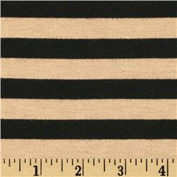 Designer Ponte De Roma Knit Stripe Tan/Black Fabric
