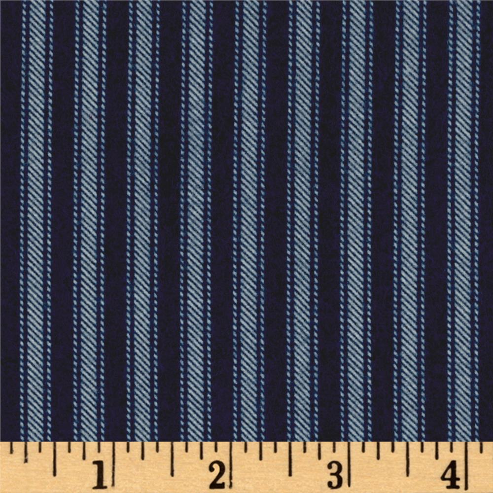 Newport Flannel Ticking Stripe Navy Fabric