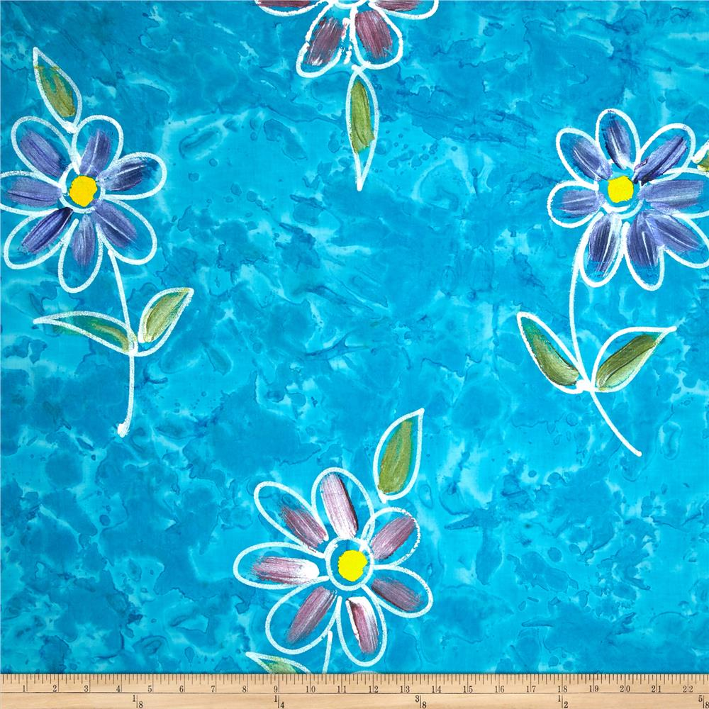 Indian Batik Hand Painted Floral Aqua