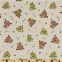 Flannel Teddy Bear White/Green