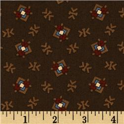 Pine Tree Lodge Floral Squares Brown