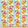 Kaufman Garden Splendor Flower Stripe Blue
