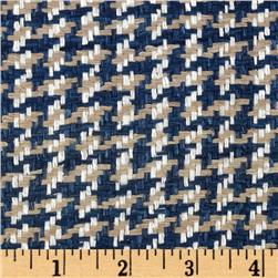 Uptown Raw Silk Suiting Houndstooth Blue/White/Beige