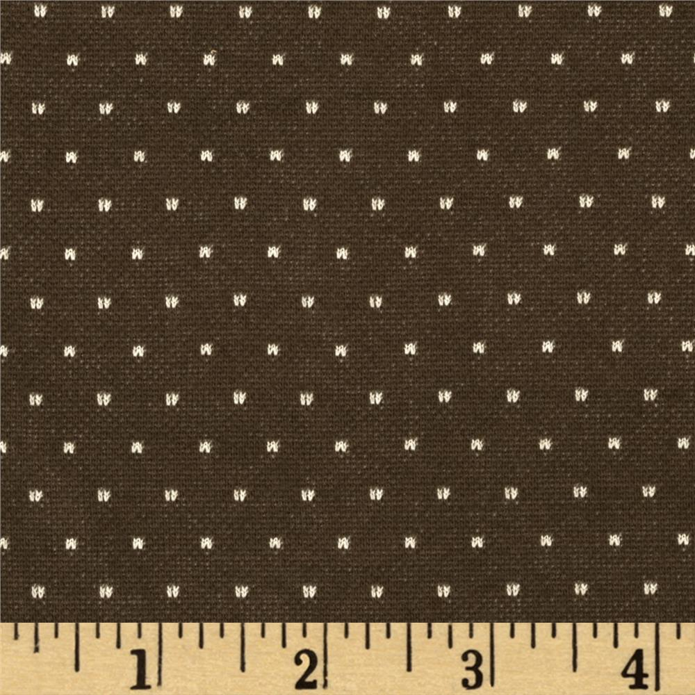 Designer Stretch Double Knit Woven Dots Brown/Beige