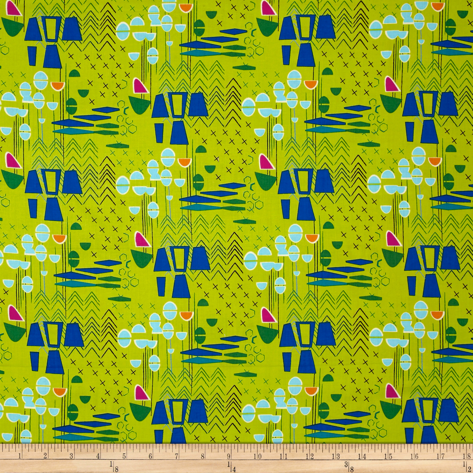 Image of Contempo Modern Marks Modern Marks Lime Fabric