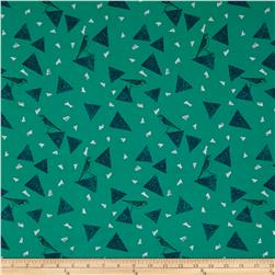 Kokka Echino Huedrawer Sateen Metallic Triangle Birds Emerald