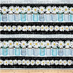 Timeless Treasures Live, Love, Laugh Daisy Stripe Black